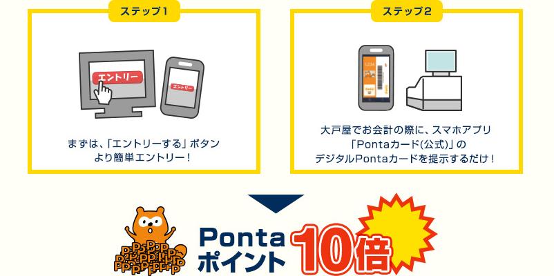 ステップ1、まずは、「エントリーする」ボタンより簡単エントリー。ステップ2、大戸屋でお会計の際に、スマホアプリ「Pontaカード(公式)」のデジタルPontaカードを提示するだけ!上記2ステップで、Pontaポイント10倍!