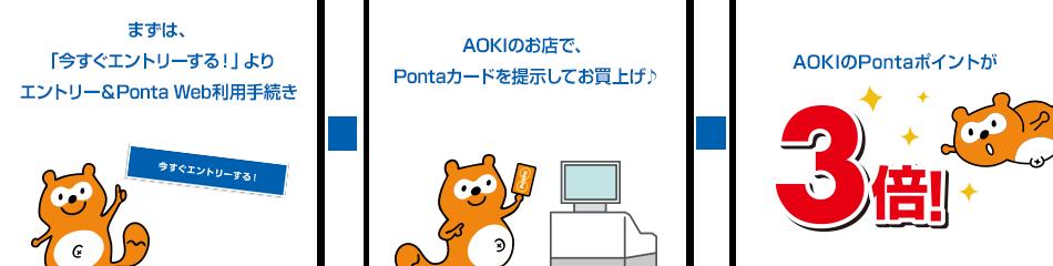 まずは、「今すぐエントリーする」よりエントリー&Ponta Web利用手続き。AOKIのお店で、Pontaカードを提示してお買上げ♪AOKIのPontaポイントが3倍!